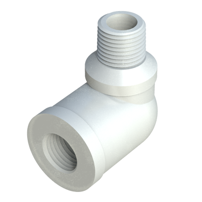 Threaded elbow with internal and external threads