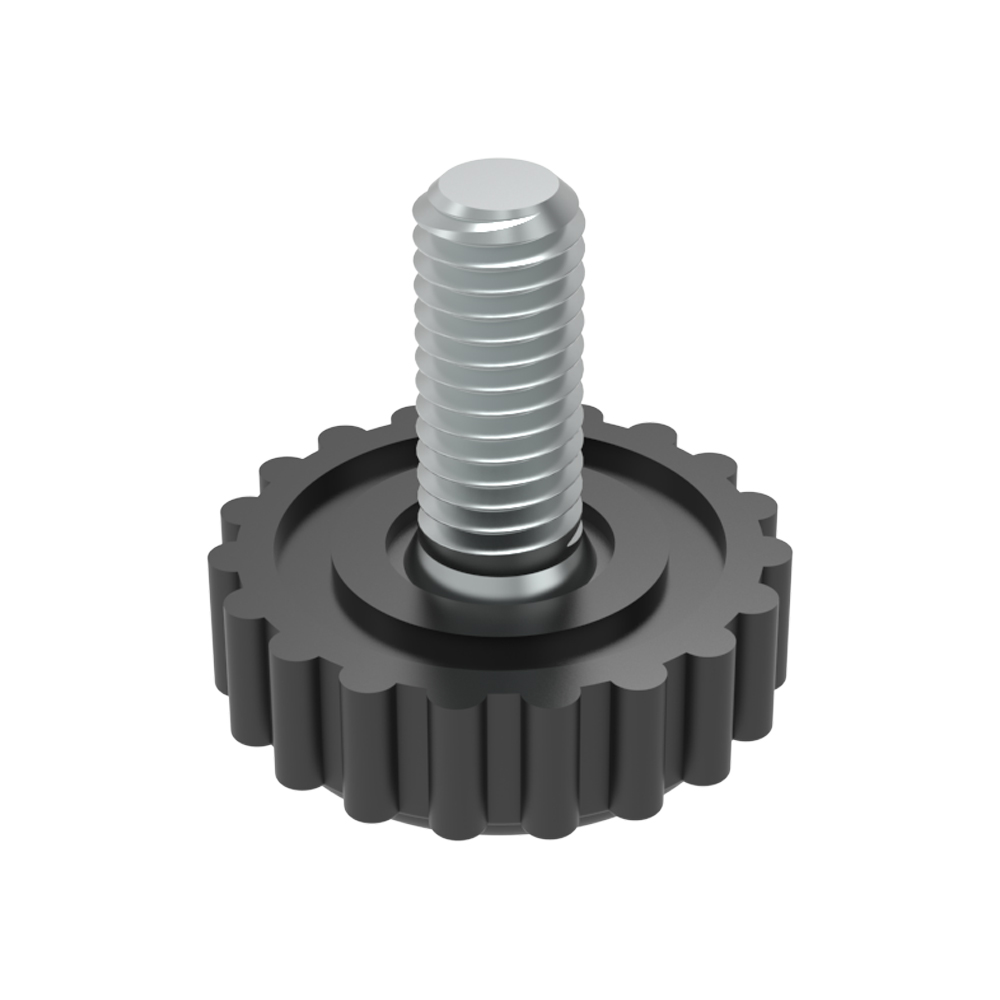 Round adjustable foot with knurled base