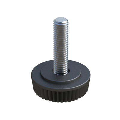 Knurled adjustable foot