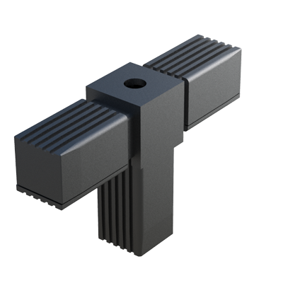 Tee connector for square tubes with thread