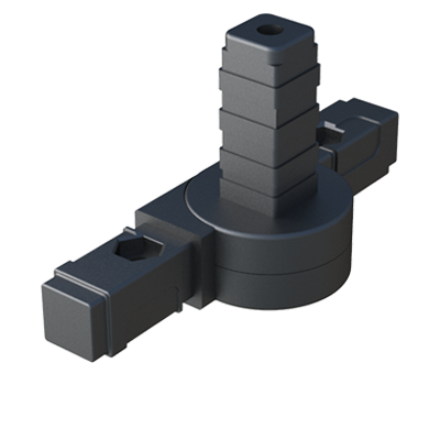 Hinge 3-way connector for square tubes